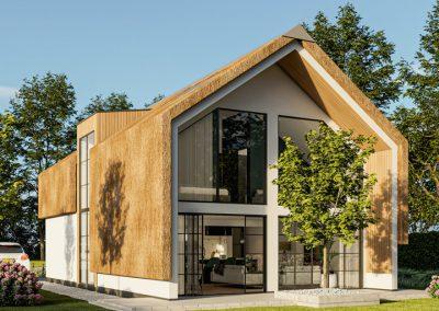 3D exterieur impressie luxe vrijstaande rietwoning met ruime achtertuin