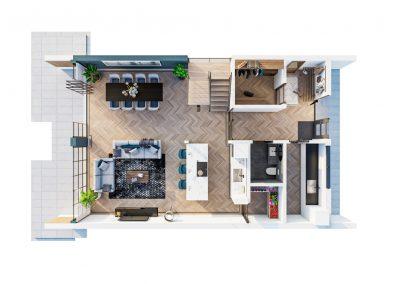 3D plattegrond begane grond sfeervol ingerichte vrijstaande woning
