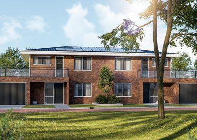 3D impressie van een 2 onder 1 kap woning met groene omgeving