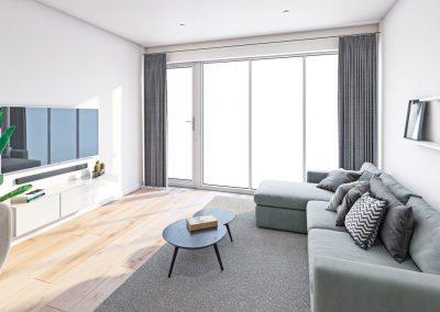 3D interieur impressie van woonkamer voor herinrichting kantoorpand