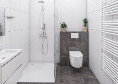 3D interieur impressie badkamer met vrijstaande douche zwevend toilet handdoek radiator