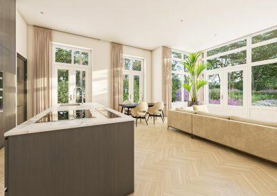 3D interieur impressie leefruimte luxe appartement in 't Gooi gelegen op prachtig landgoed