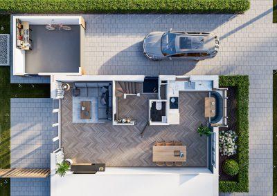 3D sfeerplattegrond van een hoekwoning met ruime woonkamer en oprit met garage