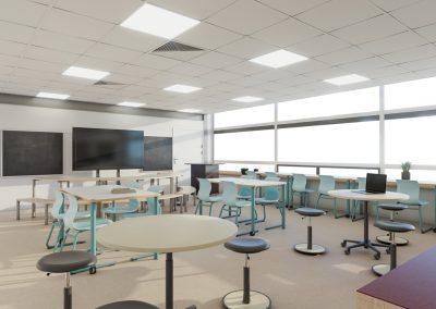 3D interieur impressie projectinrichting klaslokaal groep 7 en 8 basisschool OBS de Vogels