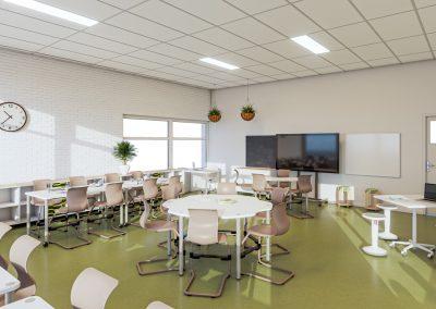 3D visualisatie van een klaslokaal van SC Planthof ontworpen door School Concept