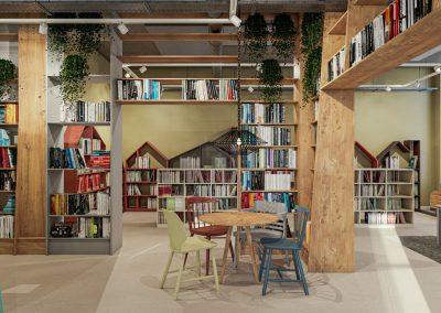 3D interieur impressie bibliotheek kinderboeken Hart van Heteren ontwerp door studiomfd